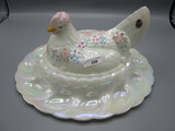 Fenton hen on nest w/deviled egg tray. Hand painted