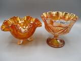 2 pcs marigold carnival glass as shown