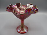 Fenton ruffled red carnival compote