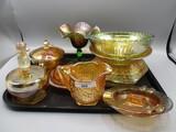Tray lot misc marigold carnival glass