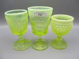 3 vaseline goblets as shown