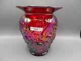 Fenton red carnival Alpine Thistle vase in box
