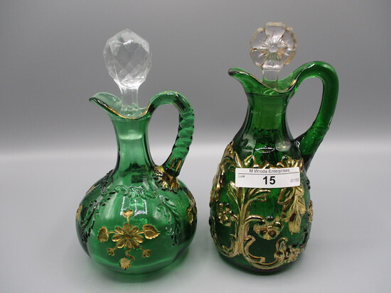 2 green Pattern Glass cruets