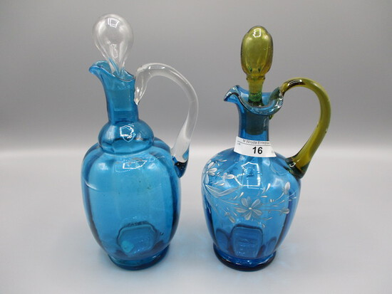 2 Art glass Cruets w/ blown stoppers