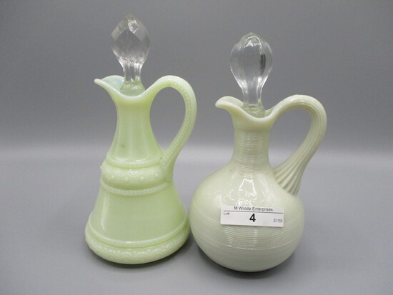 2 Custard glass cruets including Ring Band
