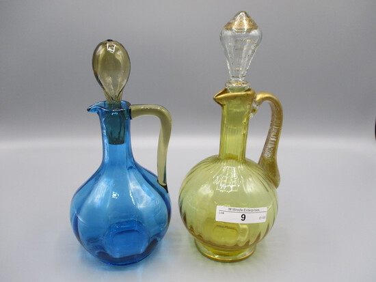 2 Art Glass Cruets with blown stoppers,