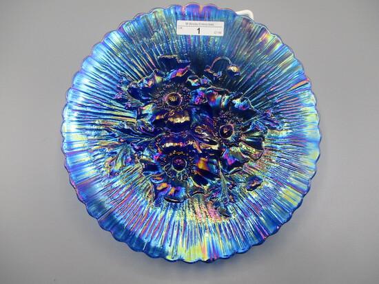 "Nwood 9"" elec blue Poppy Show plate OUTSTANDING PLATE!"