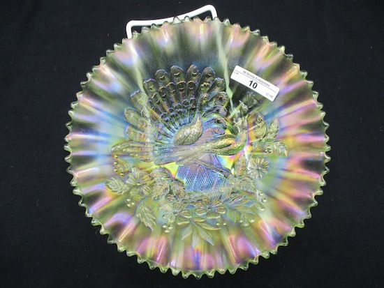 """Nwood 8.5"""" ice green Peacocks PCE bowl. Almost lime."""