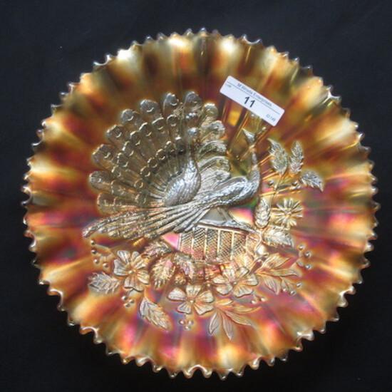 "Nwood 8.5"" marigold Peacocks PCE bowl."