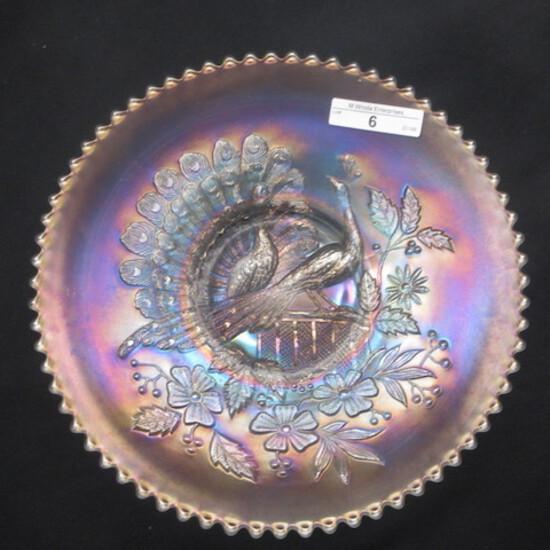 """Nwood 9"""" white Peacocks plate w/ plain back- RARE"""