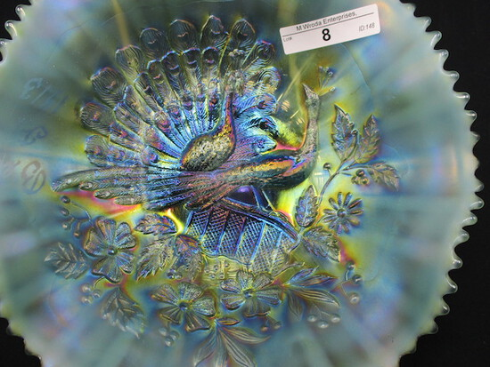 """Nwood 8.5"""" bright AO Peacocks ruffled bowl. SWEET! Etched Bell F. 1913  Thi"""