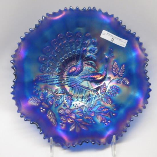 "Nwood 8.5"" blue Peacocks ruffled bowl. close to electric!"