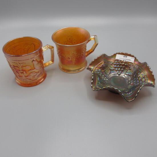 "2 mari carnival glass mugs and 1-5"" berry bowl"
