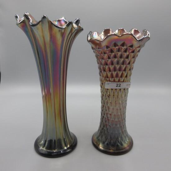 """Nwood 8"""" purple Diamond point and thin rib vases"""