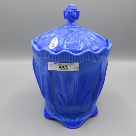"Fenton 8"" Periwinkle Blue Covered Cactus Jar 100th Anniversary"
