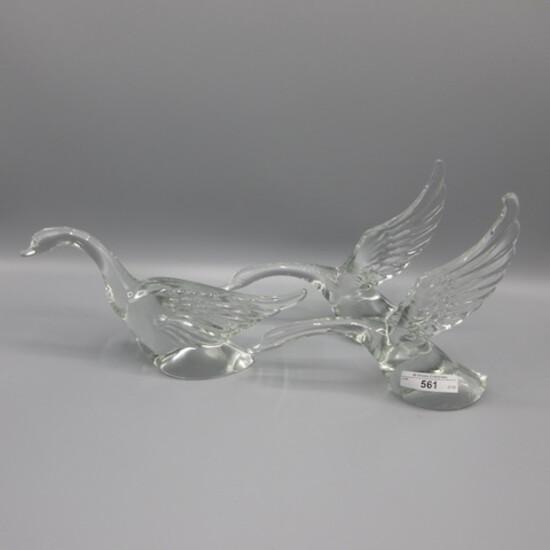 2 Heisey Original Crystal Geese Wings Up and Wing Half