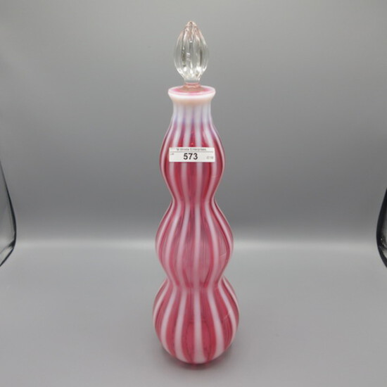 """Fenton 14"""" Cranberry Opal Rub Optic Wine Decanter with stopper """"New World"""""""