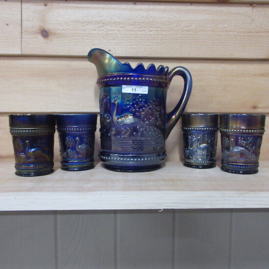 Nwood elec blue Peacock at Fountain water set 5pc WOW!