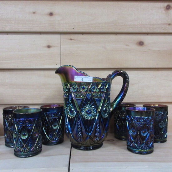 Imperial elec purple Diamond Lace 7pc water set. Always sought after!