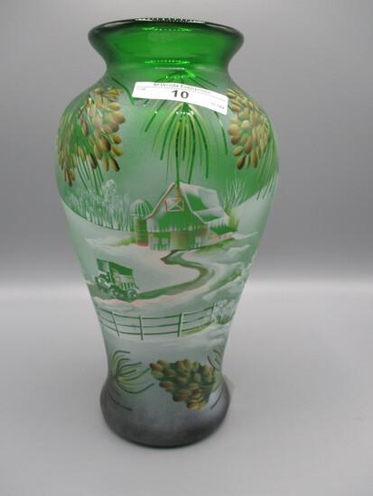 "Fenton green vase, 9"" tall, painted w/snow scene-- Barn, car, pine boughs,"
