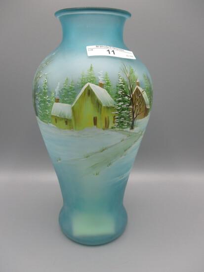 Fenton green vase w/snow scene, deer, house, barn, treen. 2014 HP by Franci