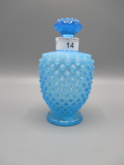 Fenton blue opalescent Hobnail perfume. Tiny bruise on stopper but intact