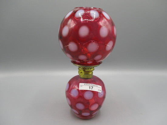 """Fenton cranberry opalescent Dot Optic mini """"Gone With The Wind"""" lamp.  Beau"""