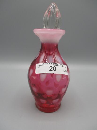 Fenton SAMPLE cranberry opalescent Hearts perfume bottle w/stopper