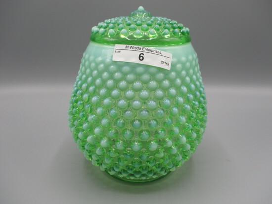 Fenton green opalescent Hobnail tall candy jar w/green opalescent Hobnail l