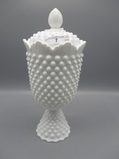 Fenton milk glass Hobnail tall apothecary jar