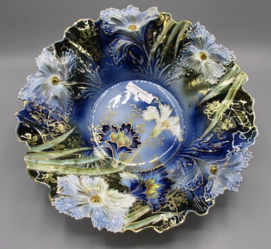 "RS Prussia 12"" Carnation mold centerpiece bowl in cobalt blue w/ cobalt car"