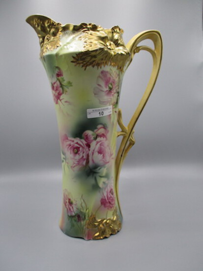 """RS Prussia 13.5"""" Carnation mold tankard w/ yellow background and Poppy deco"""