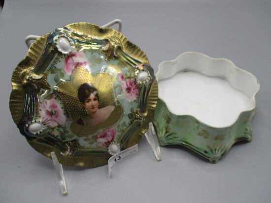 "RS Prussia 7"" Ribbon & Jewel covered dresser box w/ Recaimer portrait in go"