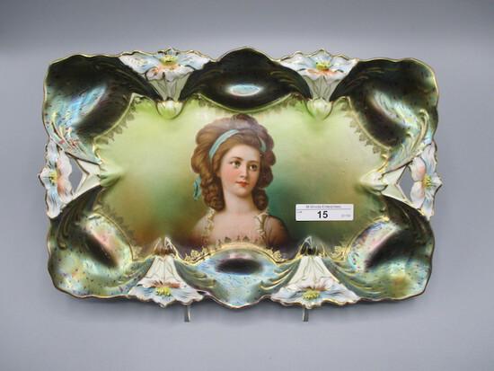 "RS Prussia 11 x 8"" Lily mold dresser tray in Tiffany finish w/ Potocka port"