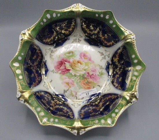 """RS Prussia 11"""" bowl w/ cobalt domes & green trim. Opal jewels and multi-col"""