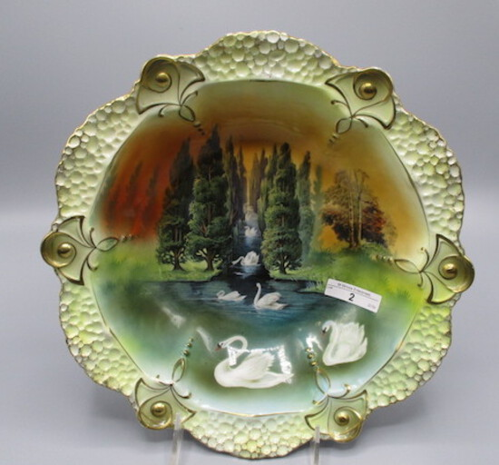 """RS Prussia 11"""" bowl w/ Swans in Channel decor. Awesome colors! What a beaut"""