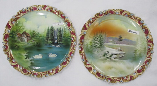 """Pair of RS Prussia 12"""" scenic plaques. First is a Snowbirds scenic plaque a"""