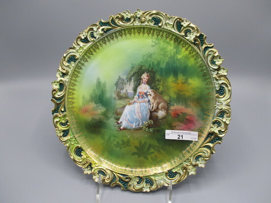 """RS Prussia 10"""" plaque w/ Lady & Dog decor. Border has embossed floral in re"""