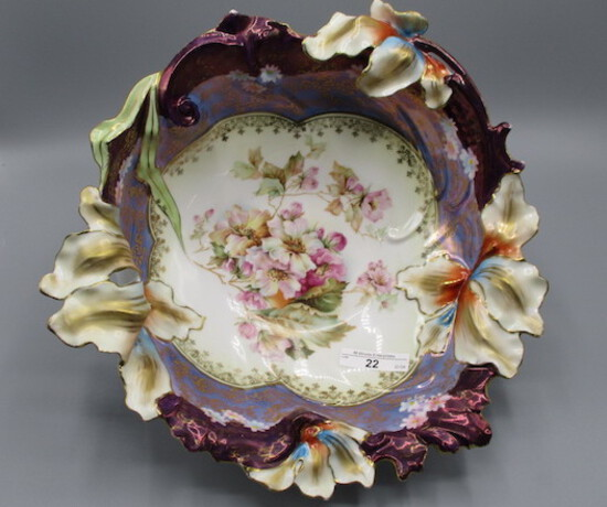 """RS Prussia 11"""" Blown out Iris floral bowl w/ Wild Roses decor. Large folded"""