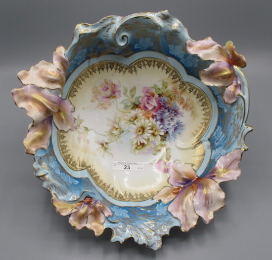 """RS Prussia 11"""" Blown out Iris floral bowl w/ Mixed Floral decor. Large fold"""