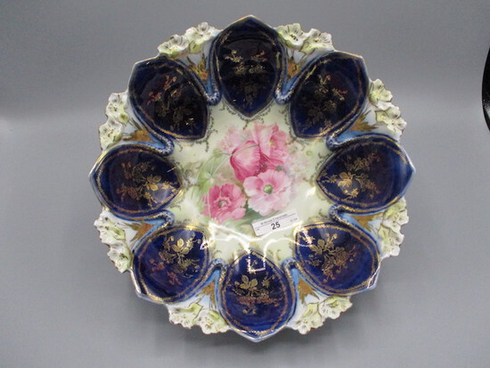 """RS Prussia 10.5"""" Violet mold floral bowl w/ cobalt domes and Poppy flowers."""