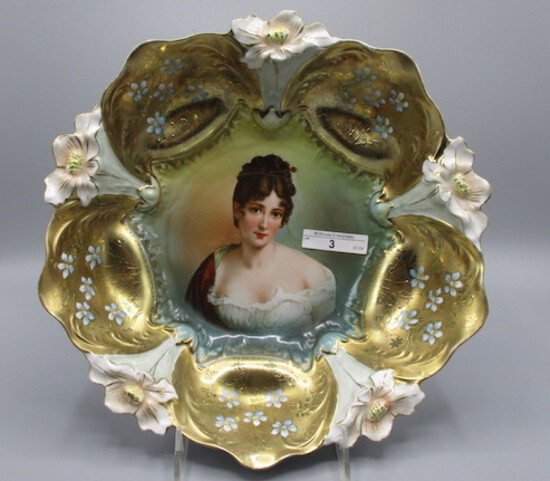 """RS Prussia 11"""" lily mold bowl w/ Madame Recaimer and gold domes w/ little b"""