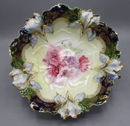 """RS Prussia 10.5"""" Iris Mold bowl w/ Poppy decor in center and cobalt hi-ligh"""