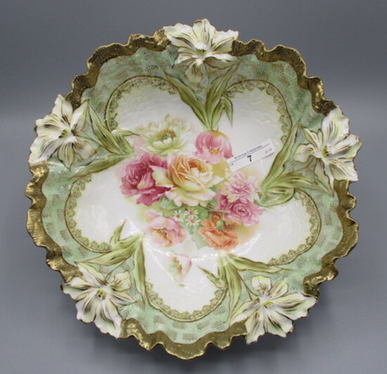 """RS Prussia 10.5"""" Lily Variation mold floral bowl w Roses & Poppy decor. Gol"""