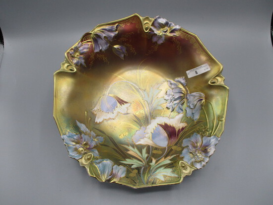 """RS Prussia 11"""" Tiffany Finish bowl w/ blown out Poppy's and gold traced Pop"""