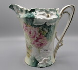 RS Prussia Carnation Mold Cider Pitcher with Roses on Green background. RM