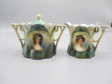 RS Prussia Lily Mold Cream and Sugar Set, Peacock Tiffany with Countess pot