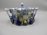 RS Prussia Lily Mold Cobalt Cracker Jar with Iris decor, Raised Gold Tracer