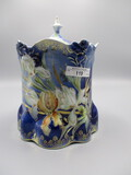 RS Prussia Lily Mold Cobalt Biscuit Jar with Iris decor, Raised Gold Tracer