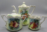 RS Prussia Stipple Floral Mold 3-piece Tea Set with Fruit Decor. Apple, Pea